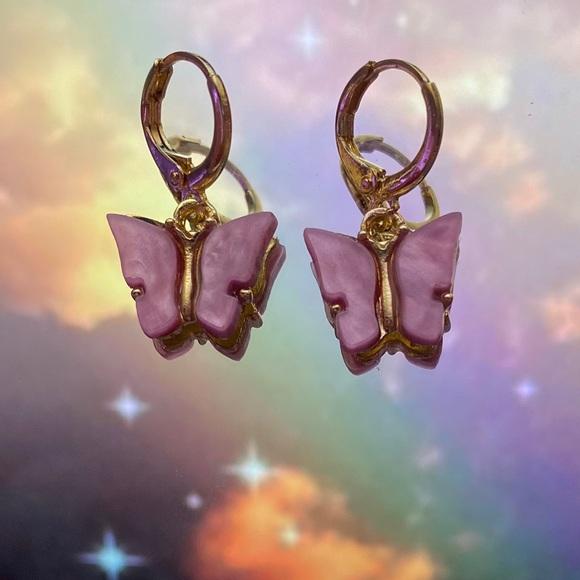 Jewelry - Pink butterfly earrings